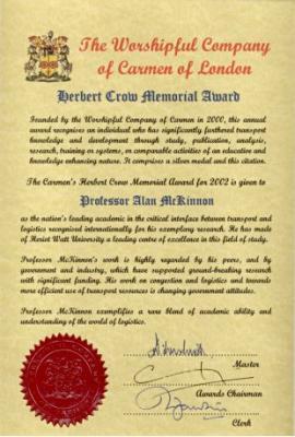 Herbert Crow award certificate