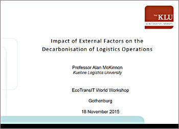 Impact of external factors on logistics decarbonisation (EcoTransIT Gothenburg 18-11-2015)