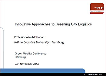 Innovative to greening city logistics (LIHH Hamburg 24-11-2014)